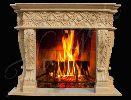 BEAUTIFUL HAND CARVED MARBLE FIREPLACE MANTEL, ORNATE