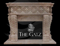 HEAVY EUROPEAN STYLE HAND CARVED MARBLE FIREPLACE MANTEL, BV2 Measures: 68 wide x 55 tall. Opening measures: 36 wide x 28 tall