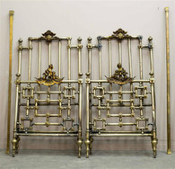 Antique Italian Twin Beds in Bronze and Brass with Cherubs