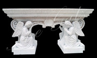 Hand Carved Marble Church Altar with Adoring Angels-Religous