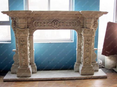 HEAVY CARVINGS ON THIS HAND CARVED MARBLE FIREPLACE MANTEL Measures: 80 wide x 61.25 tall x 15.75 deep. Opening Measures: 43 wide x 34.5 tall