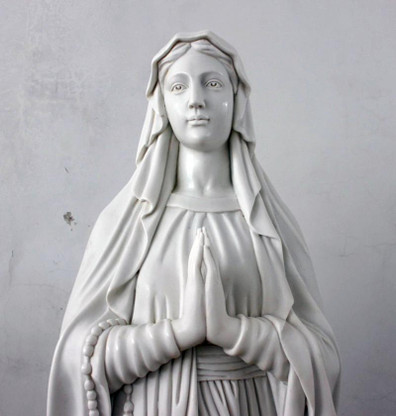 Recently finished hand carved marble Mary Statue. This is the classical Our lady of Lourdes design, excellent detail in the carvings. All hand carved from a solid block of white marble at roughly 72 tall.  Before purchasing, please contact us for availibility and shipping quote.