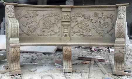 "SOLID GRANITE GARDEN BENCH WITH FLORAL CARVINGS, BALL & CLAW FEET, 94.5"" WIDE T-0006"