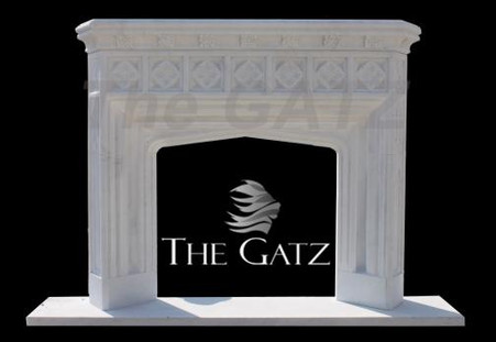 GOTHIC INSPIRED HAND CARVED MARBLE FIREPLACE MANTEL Measures: 66 wide x 53 tall x 12 deep. Opening Measures: 30 wide x 36 tall.