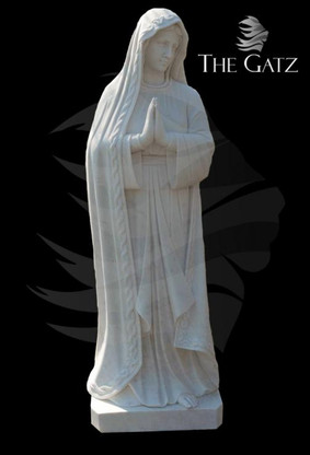 CLASSIC RELIGIOUS HAND CARVED MARBLE VIRGIN MARY STATUE