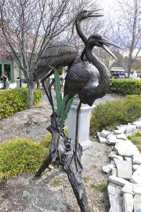 BRONZE HERONS ON LOG FOUNTAIN AND STATUE BEST DESIGN