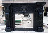 STATELY CUSTOM MABLE FIREPLACE MANTEL, BLACK MARBLE WITH WHITE VEINS