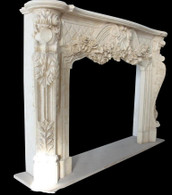 Hand Carved French Fireplace mantel with Rose Flower Carvings Antique Design #8232