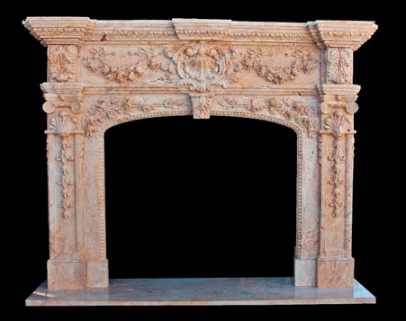 Hand Carved Italian Design Marble Fireplace Mantel, Floral Swags & Acanthus Carvings