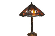 Handel Deciduous Tree Table Lamp Sunset Overlay with Crooked Tree Trunk Base