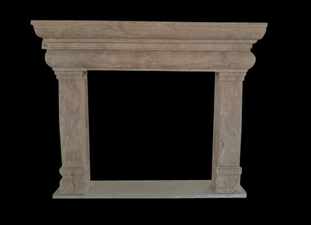 Tuscan Design Travertine Fireplace Mantel, Simple Clean Design