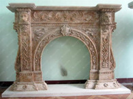 UNIQUE DESIGN ON THIS MARBLE FIREPLACE MANTEL FEATURES LION'S HEAD SUPPORT COLUMNS AND ARCHED OPENING
