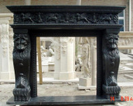 HAND CARVED FIREPLACE MANTEL LION LEG CARVINGS, MASCULINE Overall dimensions: 78 x 63 x 14 Opening width: 42 wide x 42