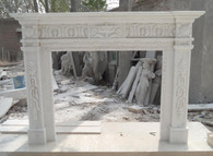 Hand Carved White marble fireplace mantel #8411