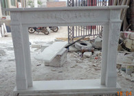 Hand carved marble fireplace mantel with acanthus carvings #8415