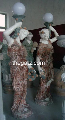 PAIR OF LIFE SIZED FEMALE FIGURINE STATUE WITH WORKING LAMP POST, 68.25 TALL