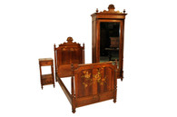 Antique French Country Bedroom Set, Walnut with Floral Paintings, Turn of Century