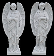 Hand carved pair of standing angels holding thurible