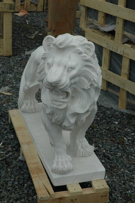 PAIR OF HAND CARVED WHITE MARBLE LIONS ROARING