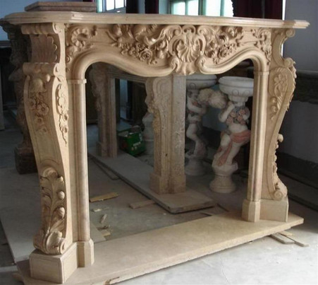 HAND CARVED MARBLE FIREPLACE MANTEL, FRENCH, ROCOCO, BAROQUE STYLE Overall dimensions: 78.75 x 57 x 15 Opening width: 48 wide x 42 tall Marseille Beige.  Please contact us before purchasing for availability and shipping quote.
