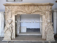 This is a wonderful marble fireplace..all hand carved in white travertine. Excellent design and wonderful detail in the cherubs. Measures: 71.5 wide x 55.5 wide x 12.5 deep: Opening is 42.1 wide x 38.5 high