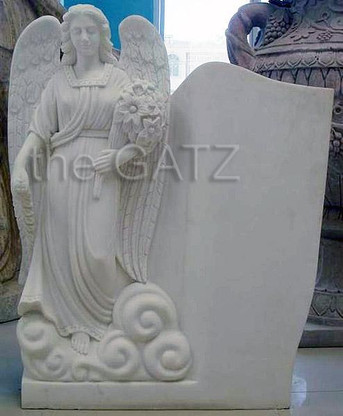 HAND CARVED RELIGIOUS MARBLE CEMETERY MONUMENT OR STATUE 40 INCHES TALL Measures: 33 wide x 40 tall.
