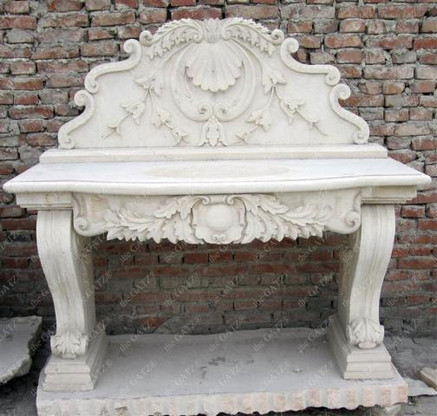 "HAND CARVED MARBLE VANITY SINK WITH BACKSPLASH, SINGLE BOWL 62"" WIDE"