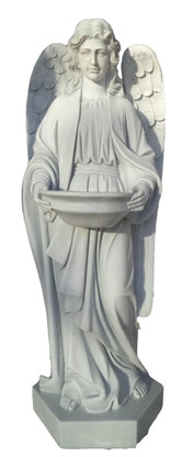 Hand Carved Marble Holy Water Angel Religious Church Statue-New Model!