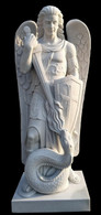 Impressive Hand Carved Marble Religious Statue of St. Michael