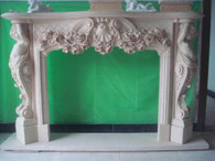 EXQUISITE HAND CARVED MARBLE FIREPLACE MANTEL FEATURING LARGE CHERUBS IN WHITE