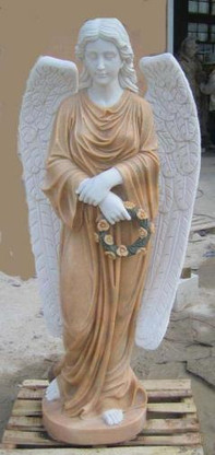 MARBLE WOMAN ANGEL STATUE HOLDING FLORAL WREATH, GOOD CHURCH OR CEMETERY STATUE, RELIGIOUS