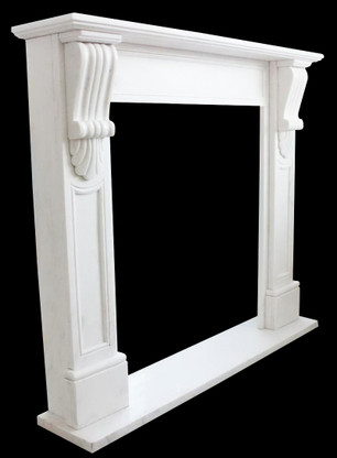White Marble Fireplace Mantel Surround Simple Clean Design, Hand Carved
