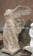 "HAND CARVED MARBLE WINGED VICTORY IN TRAVERTINE MARBLE, MYTHOLOGY STATUE 84"" TALL"