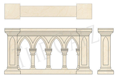 Hand Carved Marble Church Railing in Gothic Style