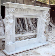 LARGE HAND CARVED MARBLE FIREPLACE MANTEL WITH WOMEN FIGURES Measures: 83 1/2 wide x 65 high x 14 deep, opening is 37 high x 46 1/2 wide