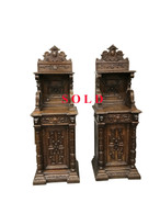 Attractive Narrow Pair Of French Renaissance Antique Cabinets, Oak