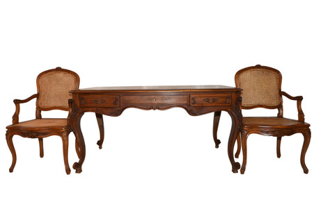 Antique French Louis XV style Desk Including 2 Arm Chairs, 1920's