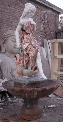 Masterfully completed marble fountain all hand carved. This piece measures 71 tall x 39 wide x 39 deep.  Before purchasing, please contact us for availability and shipping quote.