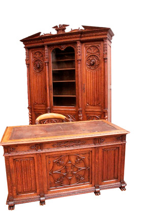 Lovely Antique French Gothic Office Set/Study, 19th Century