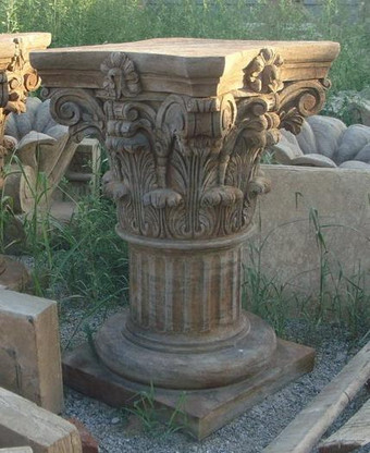 LARGE HAND CARVED CORINTHIAN STYLE MARBLE PEDESTAL, PERFECT FOR TABLE BASE