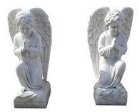 Pair of Hand Carved Marble Angel Statues, Child Praying, Religious, Monument #9689