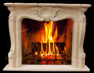 FRENCH PROVINCIAL STYLE MARBLE FIREPLACE MANTEL, EGYPT BEIGE COLOR WITH SHELL CENTER CARVING Measures: 67 wide x 51 tall x 12 deep. Opening Measures: 42 wide x 36 tall.  ISN.  Before purchasing, please contact us for availability and shipping quote.