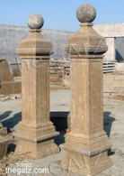 PAIR OF MARBLE DRIVEWAY ENTRY POST OR COLUMNS FINISHED IN OLDE WORLD FINISH This pair measures 19.5 wide x 19.5 deep x 82 tall.