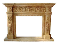 Hand Carved Marble Fireplace Mantel, Floral and Grape Carvings, Square Opening