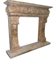 Travertine Fireplace Mantel,  Renaissance or Old World Style #3854