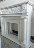Hand Carved Marble Fireplace Mantel, White Marble, #8941