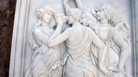 "LARGE MARBLE RELIEF OF THREE WOMEN DANCING HAND CARVED 58.5"" TALL"