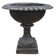 Large Black Cast Iron Urn, Garden Planter, Traditional fluted style