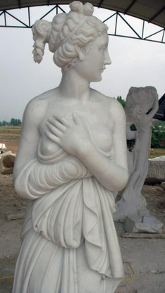 "LOVELY LIFE SIZE HAND CARVED MARBLE ROMAN WOMAN STATUE, 70"" TALL"