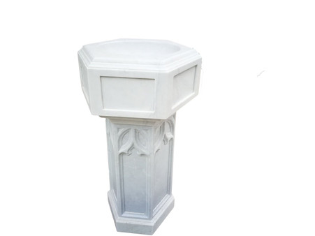 Hand Carved Marble Church Baptismal in White Marble